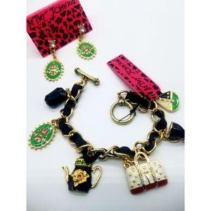 Betsey Johnson charms bracelet w/earring
